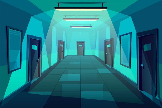 Oficina, hotel o condominio pasillo vacío o sala en la noche dibujos animados
