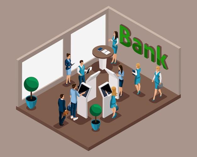 Oficina isométrica del banco, empleados bancarios atienden a clientes, cola electrónica, cajeros automáticos, retiros de efectivo, pagos electrónicos