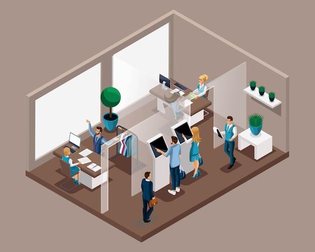 Oficina isométrica del banco, empleados bancarios atienden a clientes, cola electrónica, entrada a recepción. el consultor bancario habla sobre las ventajas de la cooperación.