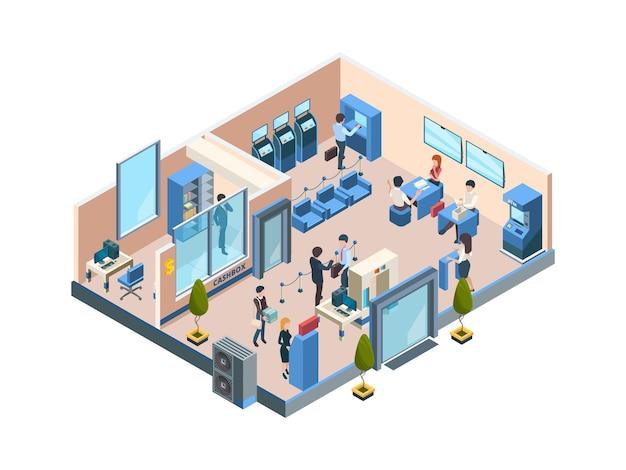 Oficina isométrica financiera empresarial con diferentes trabajadores bancarios.