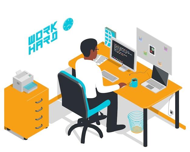 Oficina isométrica con programador escribiendo código.