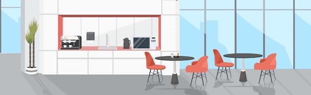 Oficina moderna cocina interior vacío sin gente comedor con muebles boceto