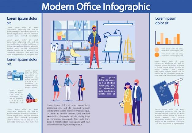 Oficina moderna conjunto de infografía con gente de negocios