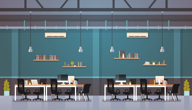 Oficina moderna interior lugar de trabajo escritorio centro de trabajo creativo centro de trabajo plano horizontal