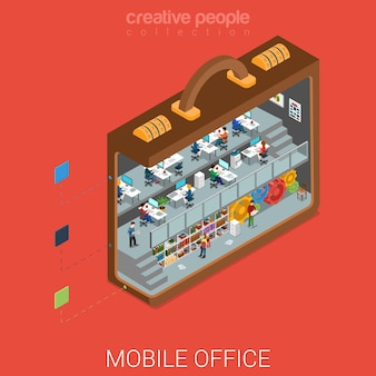 Oficina móvil micro en concepto de maletín grande plano isométrico