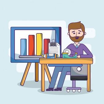 Oficina de negocios empleado espacio de trabajo de dibujos animados