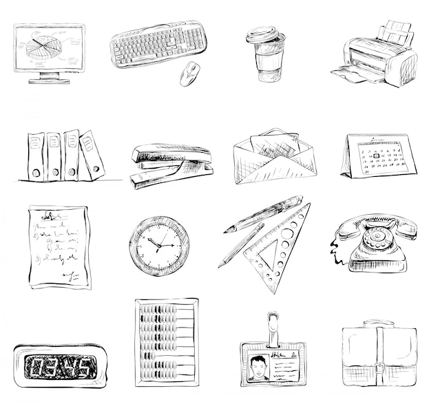 Oficina de negocios papelería suministros iconos conjunto