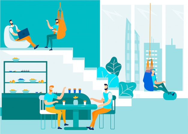 Oficina personas hablando y compartiendo el espacio de coworking