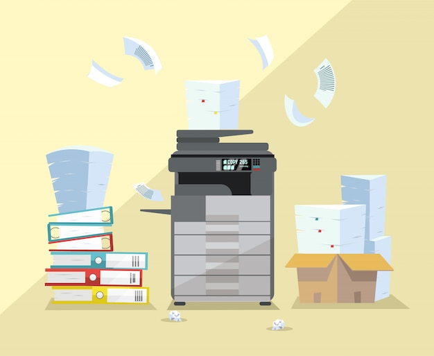 Oficina profesional copiadora gris oscuro, impresora de escáner multifunción, impresión de documentos en papel con pila de documentos, pila de papeles en cajas de cartón. ilustración de dibujos animados plana