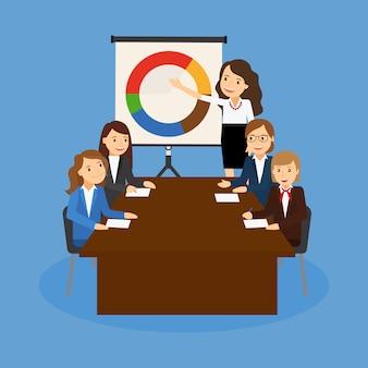 Oficina de trabajo en equipo tablero gráfico documentos gráficos