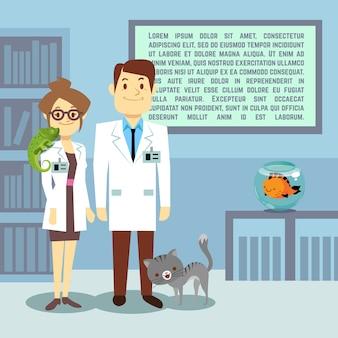 Oficina veterinaria plana con médicos y animales