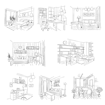 Oficinas modernas. lugares de trabajo interiores de habitaciones vacías con dibujo de muebles dibujados a mano.