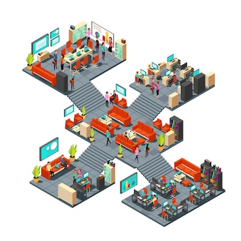 Oficinas de negocios isométricas con personal. redes de empresarios 3d en el interior de la oficina