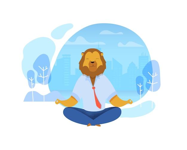 Oficinista con cabeza de león meditando imágenes prediseñadas