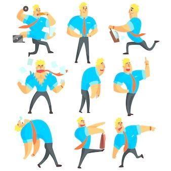 Oficinista diferentes actividades laborales conjunto de dibujos