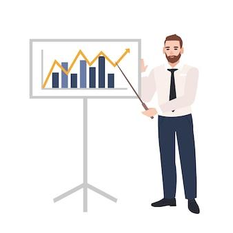 Oficinista masculino haciendo presentación y demostrando gráfico a bordo. orador de negocios dando conferencia. reunión de trabajo, formación, aprendizaje. ilustración de vector colorido en estilo de dibujos animados plana.