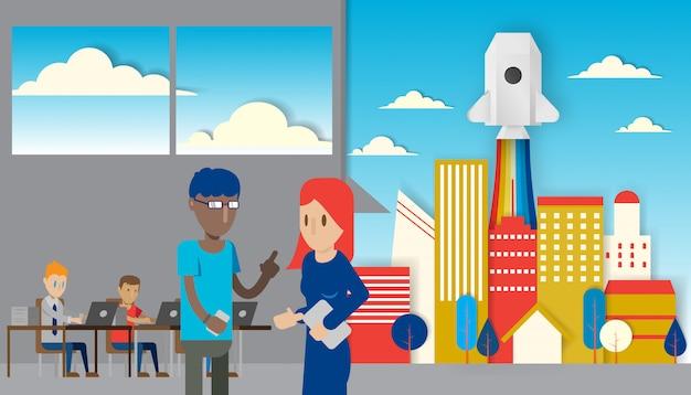 El oficinista pone en marcha la ilustración del vector del estilo del arte del papel de la idea