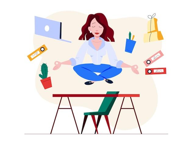 Oficinista en pose de yoga. meditación sobre el trabajo. calma y relajación, reduce el estrés. ilustración en estilo de dibujos animados