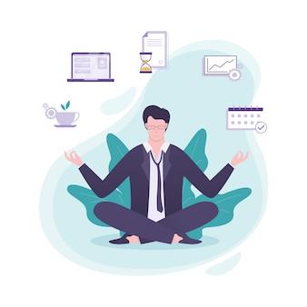 Oficinista en pose de yoga. meditación sobre el trabajo
