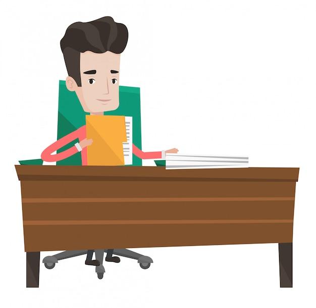 Oficinista trabajando con documentos.
