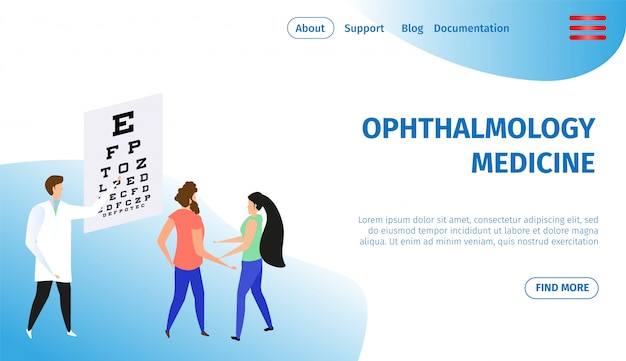 Oftalmología medicina banner horizontal. oculista