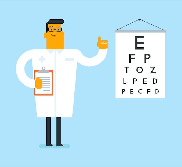Oftalmólogo blanco caucásico con tabla optométrica.