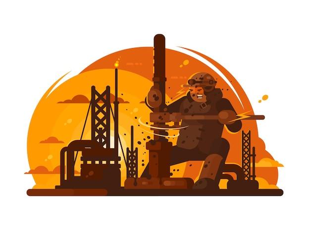 Oilman perfora un nuevo pozo para la producción de petróleo. ilustración plana