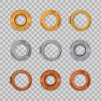 Ojo de buey icono de color transparente realista engastado en oro plateado y bronce en forma redonda