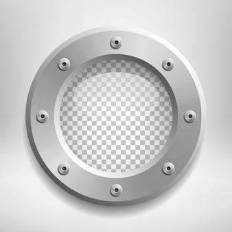 Ojo de buey de metal con cristal transparente.