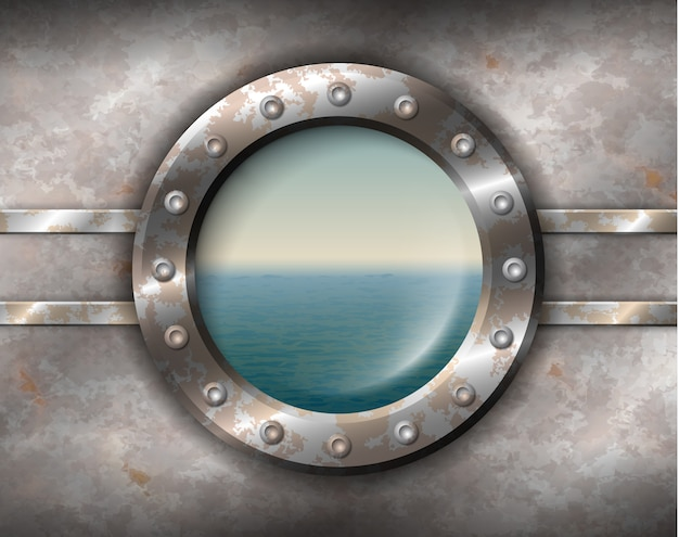 Ojo de buey oxidado con paisaje marino