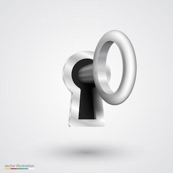 Ojo de cerradura con arte de llave plateada. ilustración vectorial