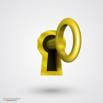 Ojo de cerradura con arte de oro clave. ilustración vectorial