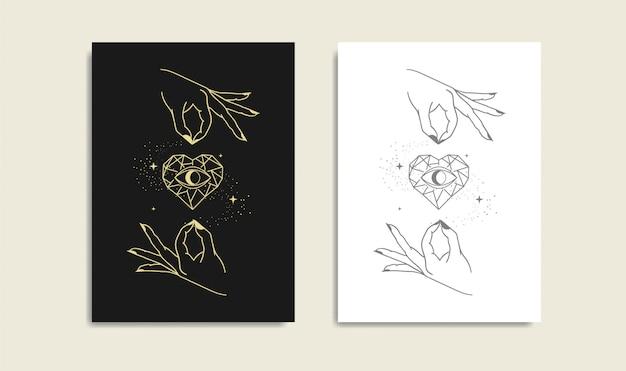 Ojo del corazón de piedra con mano, corazón mágico, logotipo de oro de mano y ojo, lector de tarot de guía espiritual