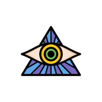 Un ojo de dios religioso logotipo de logotipo de signo de símbolo