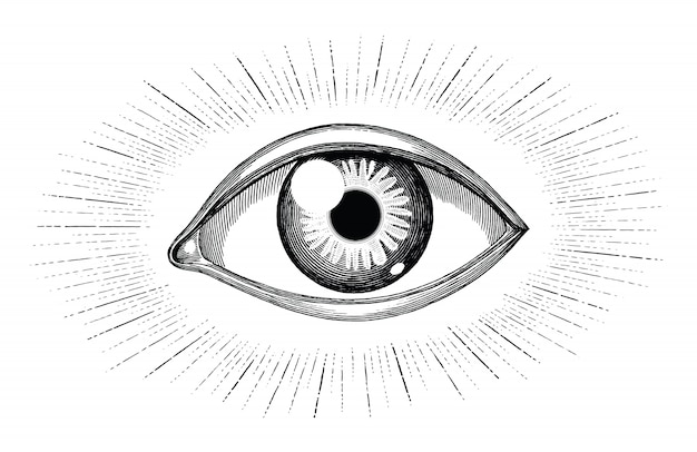 Ojo humano con rayos tatuaje mano dibujar vintage grabado aislado sobre fondo blanco.