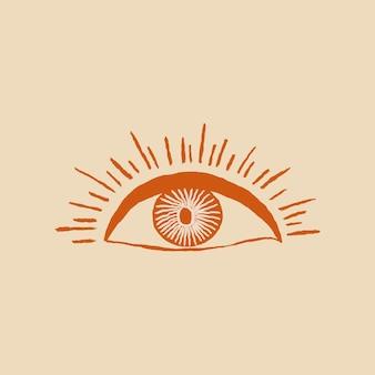 Ojo logo vector dibujado a mano ilustración vintage salvaje oeste tema