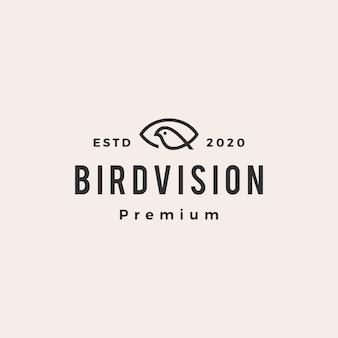 Ojo pájaro visión hipster vintage logo icono ilustración