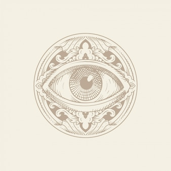 Ojo de la providencia con adorno. grabado, dibujado a mano o estilo tatuaje. símbolo masónico. todos ojos que ven. el nuevo orden mundial. geometría sagrada, religión, espiritualidad, ocultismo.