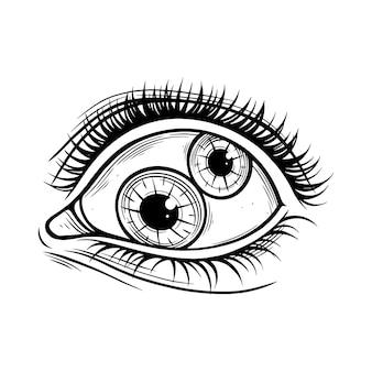Ojo psicodélico. pupila doble. ilustración gráfica