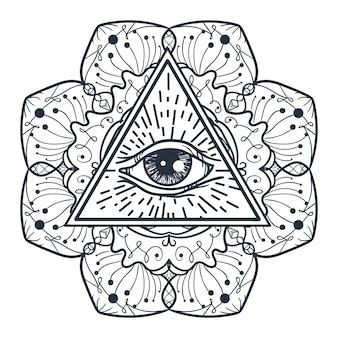 Ojo que todo lo ve en triángulo y mandal