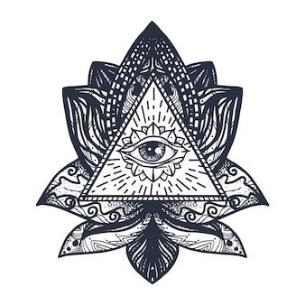Ojo en tatuaje de loto