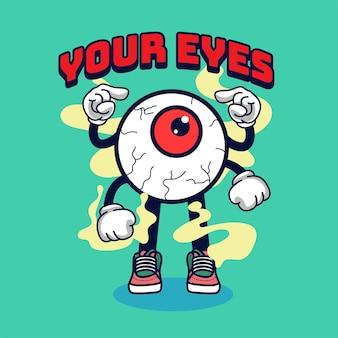Ojos carácter vintage 90's ilustración