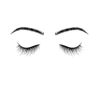 Ojos cerrados pestañas negras