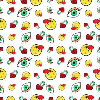 Ojos corazón candados y emoticonos de patrones sin fisuras. fondo de moda en estilo retro comic. ilustración