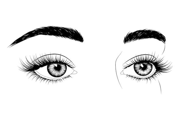Ojos dibujados a mano en blanco y negro