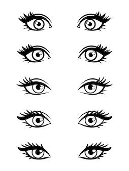 Ojos femeninos de personaje de dibujos animados
