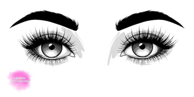 Ojos hermosos dibujados a mano