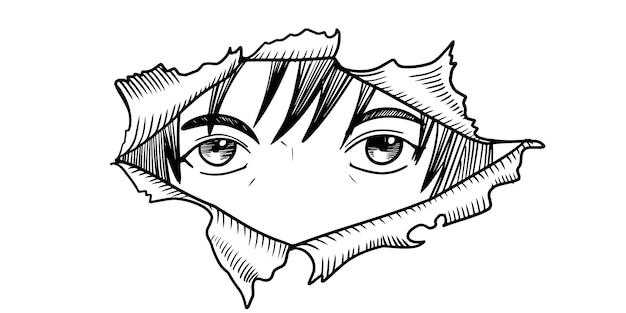 Ojos de manga mirando desde una lágrima de papel aislada sobre fondo blanco. ilustración vectorial.