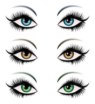 Ojos de mujer en diferentes colores.