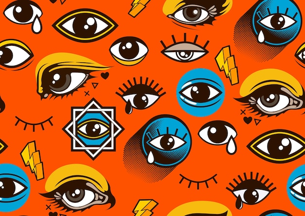 Ojos de patrones sin fisuras, estilo comic.